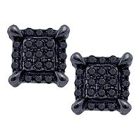 10kt White Gold Mens Round Black Color Enhanced Diamond Square Cluster Earrings 1/12 Cttw