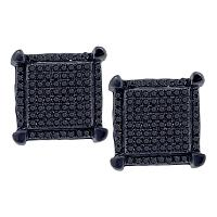 10kt White Gold Mens Round Black Color Enhanced Diamond Square Cluster Earrings 1/3 Cttw