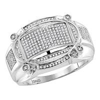 10kt White Gold Mens Round Diamond Oval Rectangle Cluster Ring 1/2 Cttw
