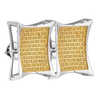 Sterling Silver Mens Round Yellow Color Enhanced Diamond Square Kite Cluster Earrings 1/3 Cttw