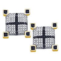 10kt Yellow Gold Mens Round Black Color Enhanced Diamond 3D Cube Square Cross Earrings 5/8 Cttw