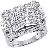 10kt White Gold Mens Round Pave-set Diamond Dome Convex Cluster Ring 5/8 Cttw