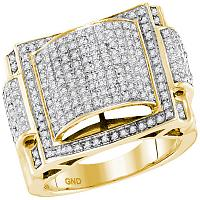 10kt Yellow Gold Mens Round Pave-set Diamond Dome Convex Cluster Ring 5/8 Cttw