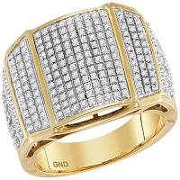 10kt Yellow Gold Mens Round Diamond Arched Cluster Ring 3/4 Cttw