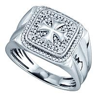 Sterling Silver Mens Round Diamond Cross Square Fashion Ring 1/5 Cttw