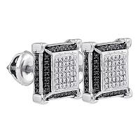 Sterling Silver Mens Round Diamond Cluster 3D Square Black Earrings 1/8 Cttw