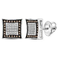 Sterling Silver Mens Round Brown Color Enhanced Diamond Square Stud Earrings 1/20 Cttw