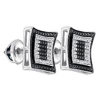 Sterling Silver Mens Round Black Color Enhanced Diamond Square Cluster Earrings 1/12 Cttw
