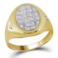 10kt Yellow Gold Mens Round Prong-set Diamond Oval Cluster Ring 1/4 Cttw