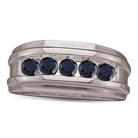 10kt White Gold Mens Round Black Color Enhanced Diamond Wedding Band 1.00 Cttw