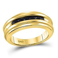 10kt Yellow Gold Mens Round Black Color Enhanced Diamond Band Ring 1/4 Cttw