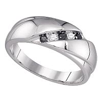 10kt White Gold Mens Round Black Color Enhanced Diamond Wedding Band Ring 1/5 Cttw