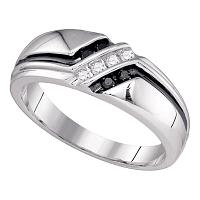 10kt White Gold Mens Round Black Color Enhanced Diamond Band Ring 1/5 Cttw