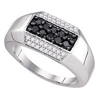 10kt White Gold Mens Round Black Color Enhanced Diamond Band Ring 3/4 Cttw
