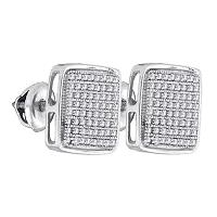 Sterling Silver Mens Round Diamond Square Cluster Stud Earrings 3/8 Cttw