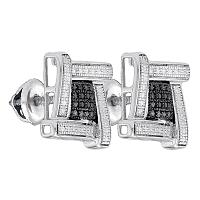 Sterling Silver Mens Round Black Color Enhanced Diamond Square Cluster Stud Earrings .03 Cttw