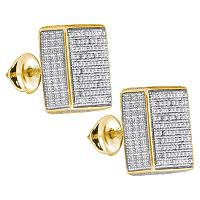 Yellow-tone Sterling Silver Mens Round Pave-set Diamond 3D Square Cluster Stud Earrings 1/2 Cttw