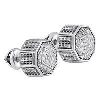 Sterling Silver Unisex Round Diamond Octagon Cluster Stud Earrings 1/10 Cttw