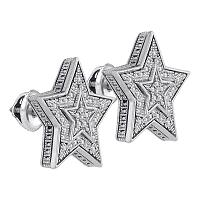 Sterling Silver Mens Round Diamond Star Cluster Stud Earrings 1/10 Cttw