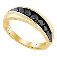 10kt Yellow Gold Mens Round Black Color Enhanced Diamond Band Ring 3/4 Cttw