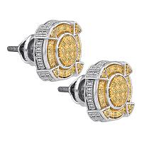 Sterling Silver Mens Round Yellow Color Enhanced Diamond Cluster Earrings 1/8 Cttw