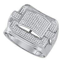 10kt White Gold Mens Round Diamond Arched Square Cluster Ring 3/4 Cttw