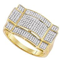 10kt Yellow Gold Mens Round Diamond Contoured Rectangle Cluster Ring 1/2 Cttw