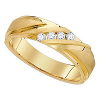 10kt Yellow Gold Mens Round Channel-set Diamond Wedding Anniversary Band Ring 1/4 Cttw