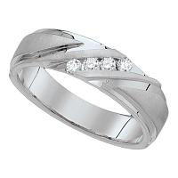 10k White Gold Mens Round Diamond Channel-set Wedding Anniversary Band Ring 1/6 Cttw