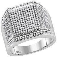 10kt White Gold Mens Round Diamond Edged Square Cluster Ring 7/8 Cttw
