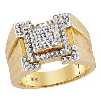 10kt Yellow Gold Mens Round Diamond Square Frame Cluster Ring 1/4 Cttw