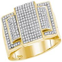 10kt Yellow Gold Mens Round Diamond Rectangle Elevated Cluster Ring 3/4 Cttw