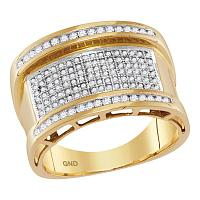 10kt Yellow Gold Mens Round Diamond Rounded Groove Cluster Ring 5/8 Cttw