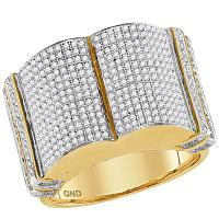 10kt Yellow Gold Mens Round Diamond Symmetrical Rounded Cluster Ring 1-1/5 Cttw