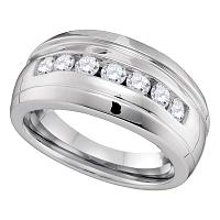 10kt White Gold Mens Round Channel-set Diamond Ridged Wedding Band Ring 3/4 Cttw