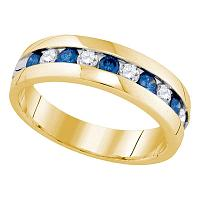 10kt Yellow Gold Womens Round Blue Color Enhanced Diamond Band Ring 1.00 Cttw