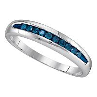 Sterling Silver Mens Round Blue Color Enhanced Channel-set Diamond Wedding Band 1/4 Cttw