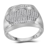 10kt White Gold Mens Round Diamond Rectangle Arched Cluster Ring 1/2 Cttw