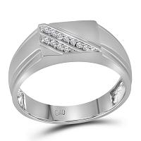 10kt White Gold Mens Round Diamond Diagonal Row Flat Top Fashion Ring 1/12 Cttw