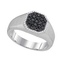 10kt White Gold Mens Round Black Color Enhanced Diamond Octagon Frame Cluster Ring 3/4 Cttw