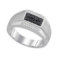10kt White Gold Mens Round Black Color Enhanced Diamond Rectangle Cluster Ring 3/8 Cttw