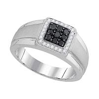 10kt White Gold Mens Round Black Color Enhanced Diamond Square Cluster Ring 3/8 Cttw