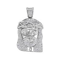 10kt White Gold Mens Round Diamond Jesus Christ Head Charm Pendant 1-5/8 Cttw