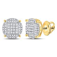 Yellow-tone Sterling Silver Mens Round Diamond Circle Cluster Earrings 3/8 Cttw