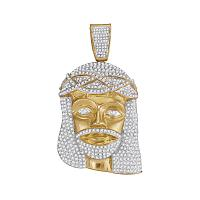 10kt Yellow Gold Mens Round Diamond Jesus Christ Messiah Head Charm Pendant 2-1/2 Cttw