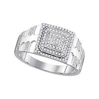 10kt White Gold Mens Round Diamond Square Frame Cluster Textured Ring 1/3 Cttw