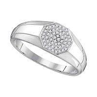 10kt White Gold Mens Round Diamond Octagon Cluster Ring 1/6 Cttw