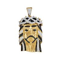 10kt Yellow Gold Mens Round Black Color Enhanced Diamond Jesus Christ Messiah Head Charm Pendant 1-1/4 Cttw