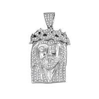 10kt White Gold Mens Round Diamond Jesus Christ Messiah Charm Pendant 5/8 Cttw