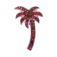 10kt Rose Gold Womens Round Red Color Enhanced Diamond Palm Tree Beach Pendant 1/4 Cttw